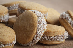 Round Cookies in Wood Stock Photography