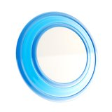 Round copyspace emblem made of blue glossy plastic Royalty Free Stock Photos