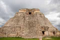 Famous Pyramid of Uxmal Maya ruins, Mexico-2. This round-cornered pyramid at Uxmal, Mexico, is the only one of its type in the Maya world stock photos