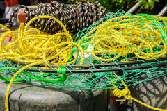 Round crab pot with rope Royalty Free Stock Photography