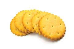 Round Cracker Stack Closeup, Isolated Macro Stock Image