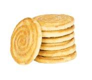 Round cracker stack, isolated Stock Photo