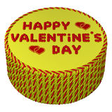 Round cream cake with words Happy valentine's day. 3D rendering. Royalty Free Stock Image