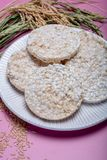 Round crispy rice crackers, dietary concept and healthy vegetarian food stock photography