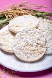 Round crispy rice crackers, dietary concept and healthy vegetarian food royalty free stock photo