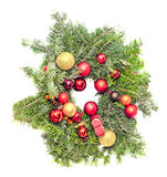 Round crown Christmas pine tree with globe ornaments close up Royalty Free Stock Photo