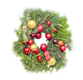 Round crown Christmas pine tree with globe ornaments close up Stock Photo
