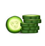 Round cucumber slice and stack of slices Stock Photo
