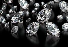 Diamonds. Round cut diamonds on black Stock Image