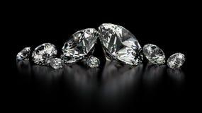 Diamonds. Round cut diamonds on black Stock Photography