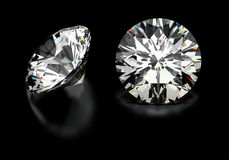 Round Cut Diamonds. On black Royalty Free Stock Images