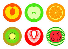 Round cut fruit symbols | Simple set Royalty Free Stock Photography