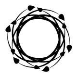 Round czarna dekoracyjna rama z liśćmi wektor ilustracja wektor