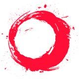 Round czerwień malował etykietkę odizolowywającą na białym tle Grunge rama, sztandar, odznaka, plakatowy projekta element wektor Fotografia Stock
