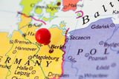 Czerwony Pushpin na mapie Niemcy Zdjęcia Stock