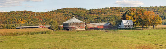 Panorama of a Round Dairy Farm Barn Stock Photo