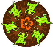 Round dance. Green frogs became circle on a flower Royalty Free Stock Photography
