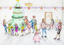 Round dance around Christmas tree in kindergarten. Hand painted sketch of round dance around Christmas tree in kindergarten drawn by colour pencil on white paper Stock Photo