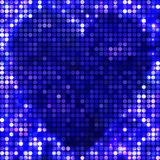 Round dark blue mosaic spots heart Stock Photos