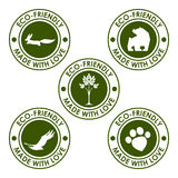 Round dark green vector eco stamp set for use in design Royalty Free Stock Photos
