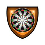 Round dartboard in center of shield isolated on white. Sport logo for any darts game or championship. Round dartboard in center of shield isolated on white royalty free illustration