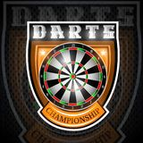 Round dartboard in center of shield. Sport logo for any darts game or championship vector illustration