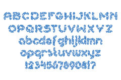 Round dashed line font set. Round dashed blue line alphabet font set Royalty Free Stock Images