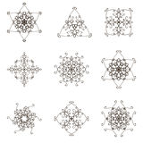 Round decorative elements. Set of round decorative elements isolated on white. Hand drawn ornaments.Abstract mandala.Illustration for your design.Vector Stock Photos