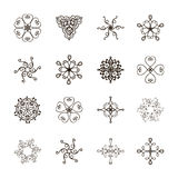 Round decorative elements. Set of round decorative elements isolated on white. Hand drawn ornaments.Abstract mandala.Vector illustration for your design Stock Images