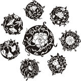 Round decorative flower dingbat designs Royalty Free Stock Photo