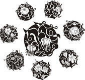 Round decorative flower dingbat designs Royalty Free Stock Photos