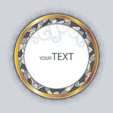 Round decorative frame with golden rim, abstract mosaic and dotted swirls isolated on gray background. Greeting card with empty place for text. Design elements Stock Photos