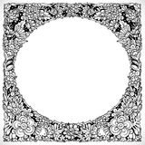 Round decorative frame from imaginary doodle flowers Royalty Free Stock Photos