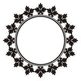 Round decorative frame with leaf ornament Stock Image