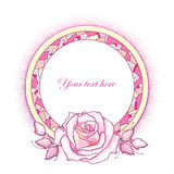 Round decorative frame with pink dotted rose, leaves and abstract mosaic in pastel colors isolated on white background. Royalty Free Stock Image