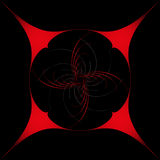 Round design element, on a black background in a red frame Royalty Free Stock Photo