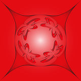 Round design element, on a red background in a frame Royalty Free Stock Image