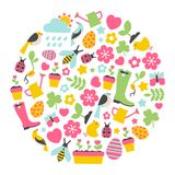 Round design element with spring icons Royalty Free Stock Photo