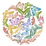 Round design with pastel papilio ulysses, morpho menelaus, graphium androcles, morpho rhetenor cacica, papilio demoleus
