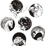 Round designs with animals Stock Photo