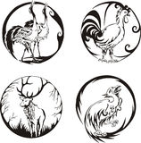 Round designs with birds and animals Royalty Free Stock Photography