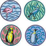 Round designs with birds Royalty Free Stock Photo