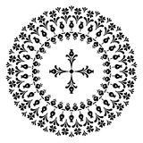 Round designs with a cross. Black and white Royalty Free Stock Photos