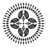 Round designs with a cross. Black and white Royalty Free Stock Photography