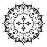 Round designs with a cross. Black and white Royalty Free Stock Images
