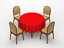 Round desktop and chairs Stock Image
