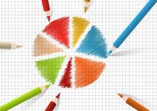 Round diagram. Color pencils drawing round diagram Stock Photos