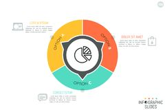 Round diagram divided into 3 lettered parts. With arrows pointing at text boxes and thin line icons. Simple infographic design layout. Three options of company Stock Photography