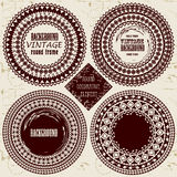 The round dial vintage frames in ethnic style. Royalty Free Stock Images