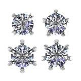Round Diamonds set prong setting on white background Royalty Free Stock Images